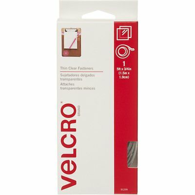 "Velcro Thin Clear 5 Ft x 3/4"" Strip Sticky Fastener Tape Hook & Loop NEW!"