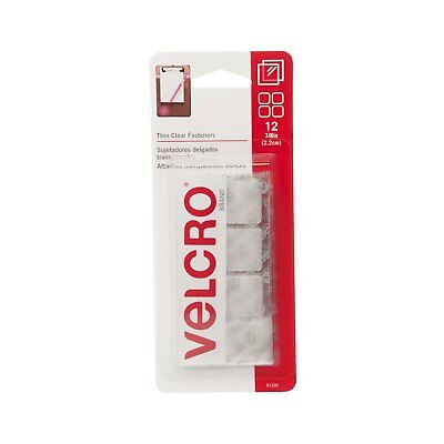 """Velcro Thin Clear 7/8"""" Squares 12 Sticky Fasteners Adhesive Hook & Loop NEW!"""