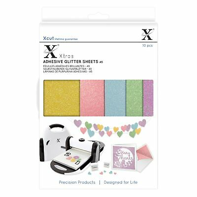 Xcut A5 Adhesive Coloured Glitter Sheets (10 Pieces) XCU174407