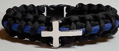 """Thin Blue Line"" Police Chaplain Paracord Bracelet; Religious Police Jewelry"