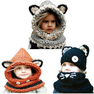 Winter Wool Knitted Cat/Fox  Hats Baby Girls Boys Shawls Hooded Cowl Beanie Caps