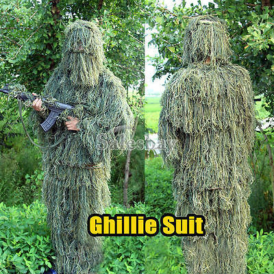 Ghillie Suit 5pc Hunting Archery Sniper Gun Wrap Bag Paintball Camo Adult Gilly