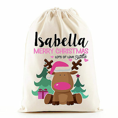 Cute pink girl Christmas reindeer Santa sack stocking gift bag, personalised bag