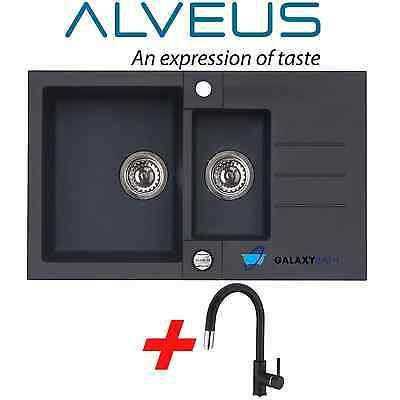 Alveus Black Onyx Granite 1.5 Bowl Square Kitchen Sink Drainer With Pull Out Tap