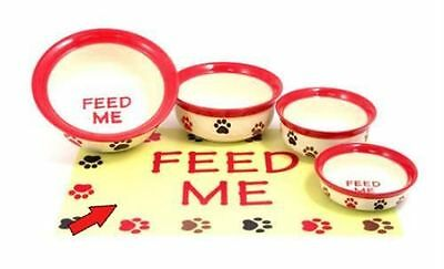 Rosewood Feed Me Dog & Cats Placemat - Feeding & Water - Cream & Red Multi Paw