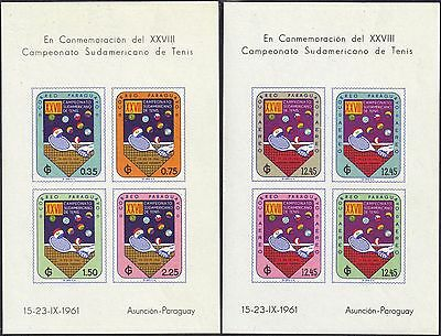 Paraguay 1961 28th South American Tennis Champships sheets x 2 Sg MS955a,b mnh