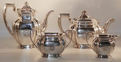 4 pc Tea and Coffee Set.  English Sterling Silver.  Sheffield 1909 and 1910
