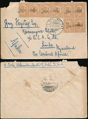 FINLAND to NYASALAND 1922 TERIJOKI TOWN CANCELS 8 stamps franking