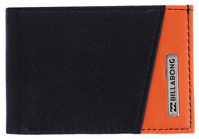 "Brand New + Tags Billabong Mens Boys Flip Wallet Bi Fold ""revival"" Black Orange"