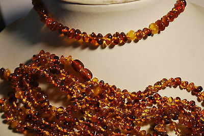Natural Raw Baltic Amber Baby Teething Necklace polished cognac color