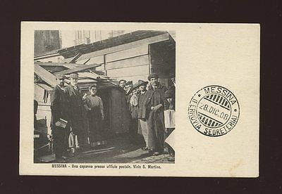 Italy MESSINA earthquake date pmk wooden hut POST OFFICE Used 1908 PPC