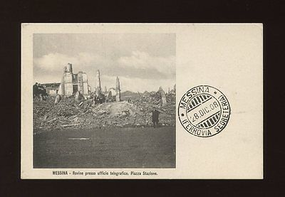 Italy MESSINA Piazza Stazione Telegraph Office Earthquake Ruins 1908 PPC