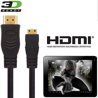 Alba 10 inch Tablet PC HDMI Mini to HDMI TV 5m Gold Long Cord Wire Cable