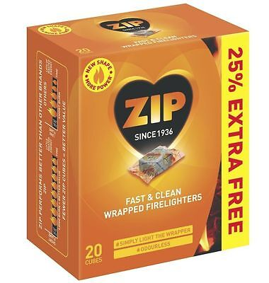 3 Pack Zip Fast & Clean 60 Cubes Wrapped Firelighters For Stove Fire Places BBQ
