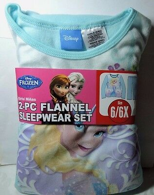 Newest New Girls Disney FROZEN Blue 2 pc Flannel Pajamas Sleepwear Set 6/6x