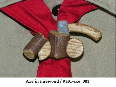Hand Carved Axe in Firewood Neckerchief Slide