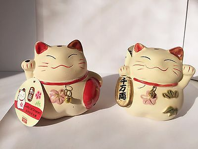 2 Medium JAPANESE LUCKY  FORTUNE CAT Feng Shui Decor Chinese Wealth Ceramic CAT