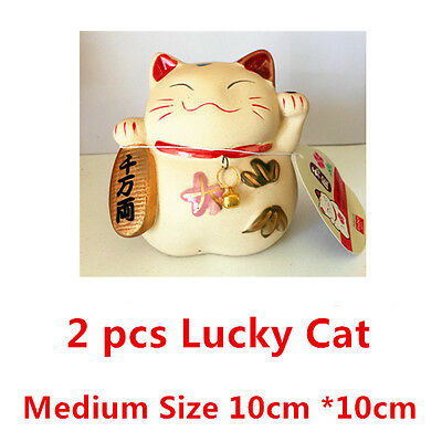 2 Medium JAPANESE LUCKY CAT Feng Shui Decor Chinese FORTUNE Wealth Ceramic CAT