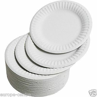 "White Round Disposable Paper Party Plates Small Large 18Cm 7"" 23Cm 9"""