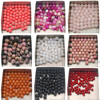 Natural Gemstone Round Spacer Loose Beads 4mm 6mm 8mm 10mm Assorted Stone Bead