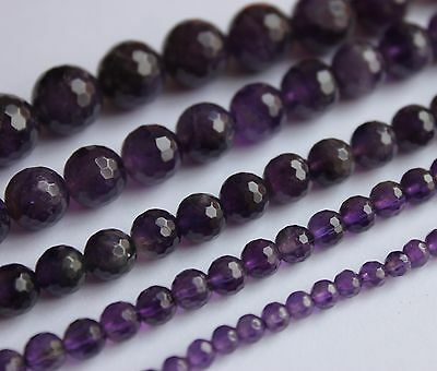 "Amethyst faceted round gemstone beads. Choose size 4mm-12mm. 8"" strand SP201"