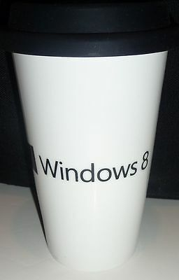 Microsoft Windows 8 Hot or Cold Drink Tumbler Ceramic White with Black Sip Lid