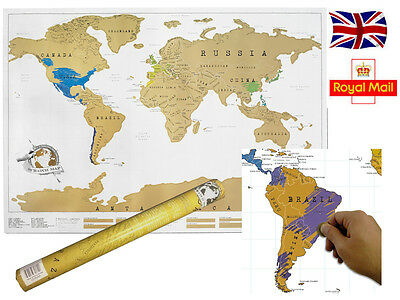 Scratch Off Map personalised world map poster Luckies - where you have been