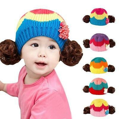 Cute Winter Baby Kids Girls Boys Warm Wig Knitted Woolen Hood Caps Hats Gifts