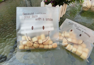 Smile sticker cookie bag plastic self-sealing bag baking bread cake party happy