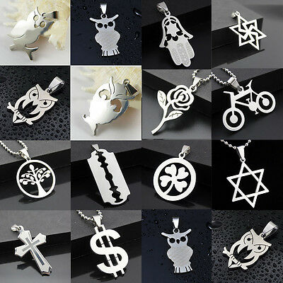 New Women Men Pendant Necklace Chain Silver Stainless Steel Jewelry Gift
