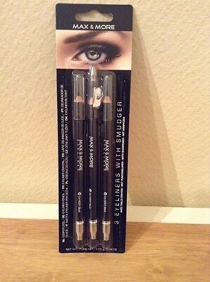 3 Crayons Eyeliner - Avec Taille Crayon - Noir - Max & More - Maquillage