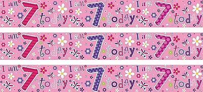 Age 7/ 7Th Birthday Girl Pink Foil Banners (Se)