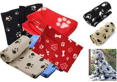 Large Soft Fleece Pet Blanket Puppy Cat Dog Paw Print Bed Animal Warm Cosy