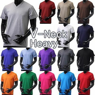 Mens V-NECK T-Shirts HEAVY Short Sleeve Sports Blank S-5XL Solid Color Tee