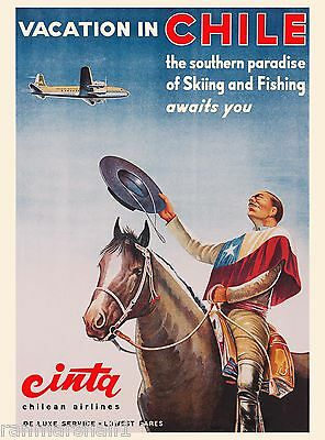 Vacation in Chile South America Airplane Vintage Travel Advertisement Poster