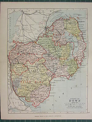 1885 Antique County Map Ireland ~ Down ~ Mourne Upper Iveagh Lecale Kinelarty