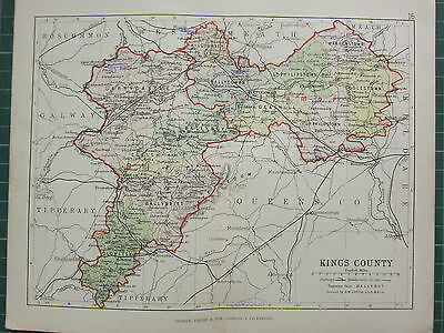 1885 Antique County Map Ireland ~ Kings County ~ Garrycastle Ballyboy Coolestown
