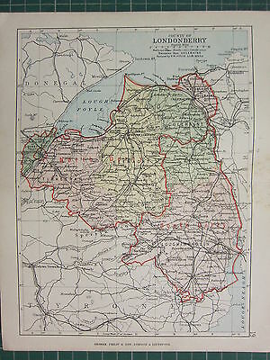 1885 Antique County Map Ireland ~ Londonderry Tirkeeran Keenaght Loughingholin