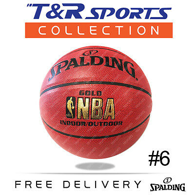Size 6 Spalding Gold NBA Leather Basketball Ball Indoor / Outdoor Free Postage