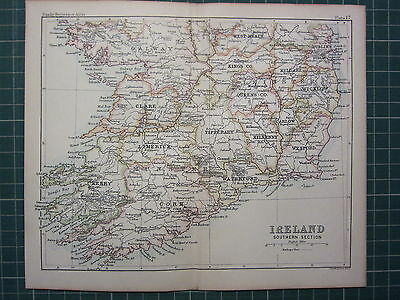 1887 Antique Map ~ Ireland Southern Seet  Cork Kerry Tipperary Clare Galway