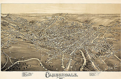 Panoramic map of Carbondale PA c1890 repro 36x24
