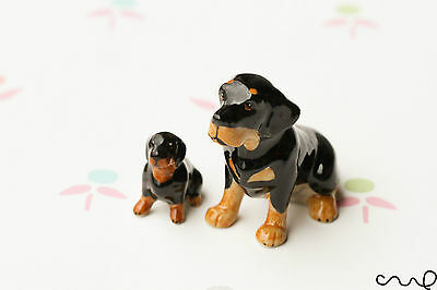 NEW A Pair of Ceramic Rottweiler Sitting Dogs Dolls Figurine Gift for Collector