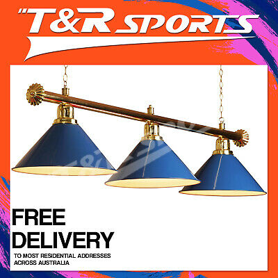 PREMIUM GOLD RAIL + BLUE HEAVY DUTY 3x SHADES POOL TABLE LIGHTS FREE DELIVERY