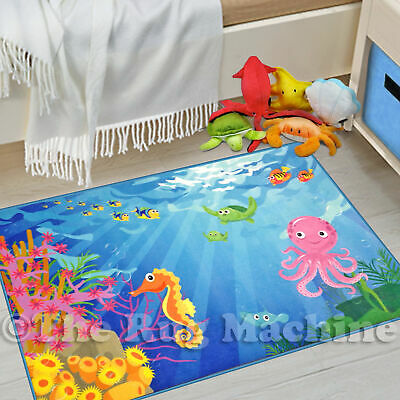 WHIZZ KIDS VIVID UNDER THE SEA FUN FLOOR RUG 80x120cm **CRYSTAL CLEAR IMAGERY**