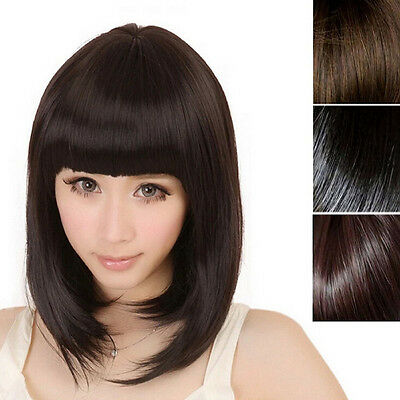 Women's Sexy Short Bob Cut Fancy Dresses Wigs Play Costume Ladies Full Wig Party