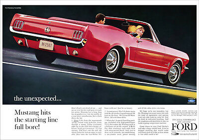 Ford Mustang Convertible Retro Poster A3 Print From 60's Advert 1964