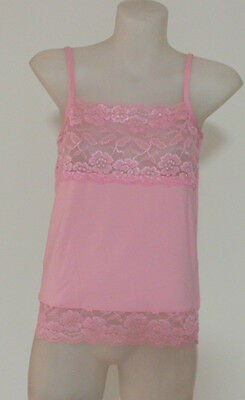Ladies Lace Camisole Vest Singlet Light Control Fit Pastel Pink 16-18 Lingerie