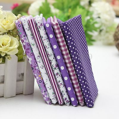 Purple Series 7 Assorted Floral Fabric Cotton Quilt Bundle Patchwork 50x50cm