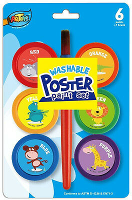 Washable Poster Paint 6 Bright Colors 22ml 1 Jumbo brush Safe Great kids artwork