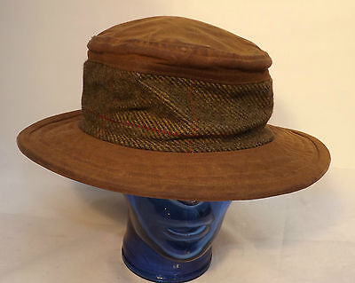 """Vintage Brown Wax & Tweed Country Hat Measure 58cm 23"""" By Montana Collection uk"""